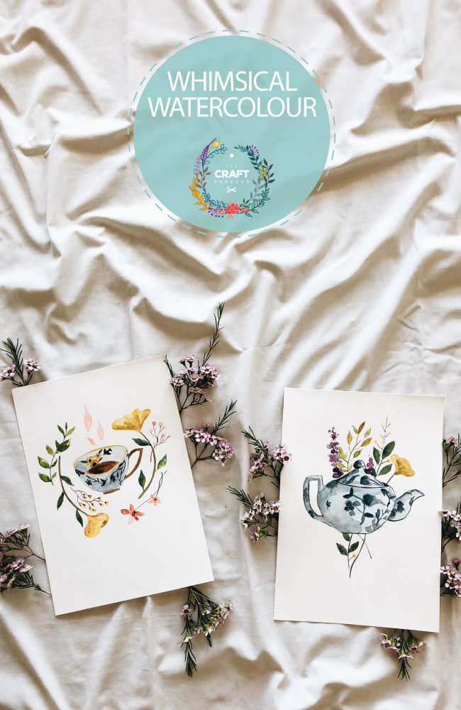 Whimsical watercolour painting workshop with watercolour teacup cards