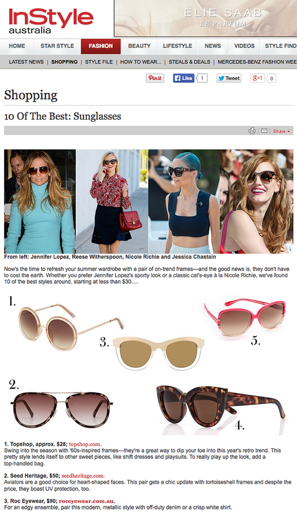 Instyle Magazine December Issue ROC Sunglasses 1