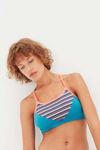 Seaside Stripe/Everglade/Papaya Basic Bralette