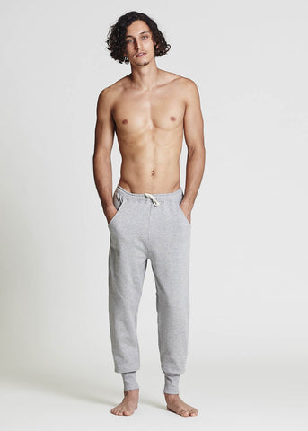 Men's Grey Melange Fleece Pants