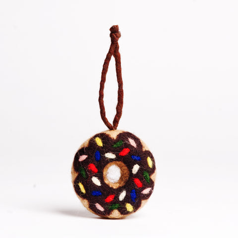 Felt Donut Ornament - Chocolate