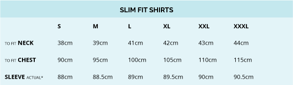 James Harper Slim Fit Shirt Size Guide