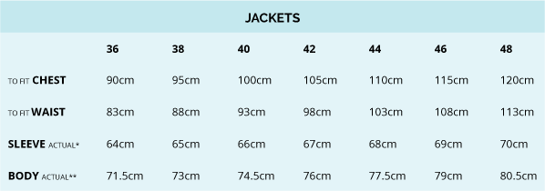 James Harper Men's Tailored Jackets Size Guide