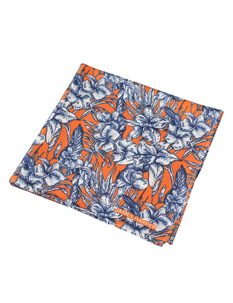 Orange Floral Pocket Square