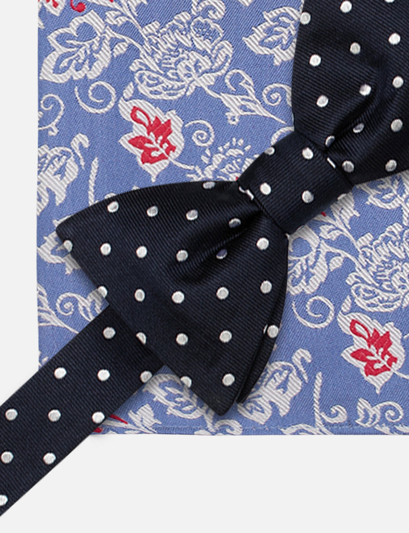 Spot Bow and Floral Pocket Square Set