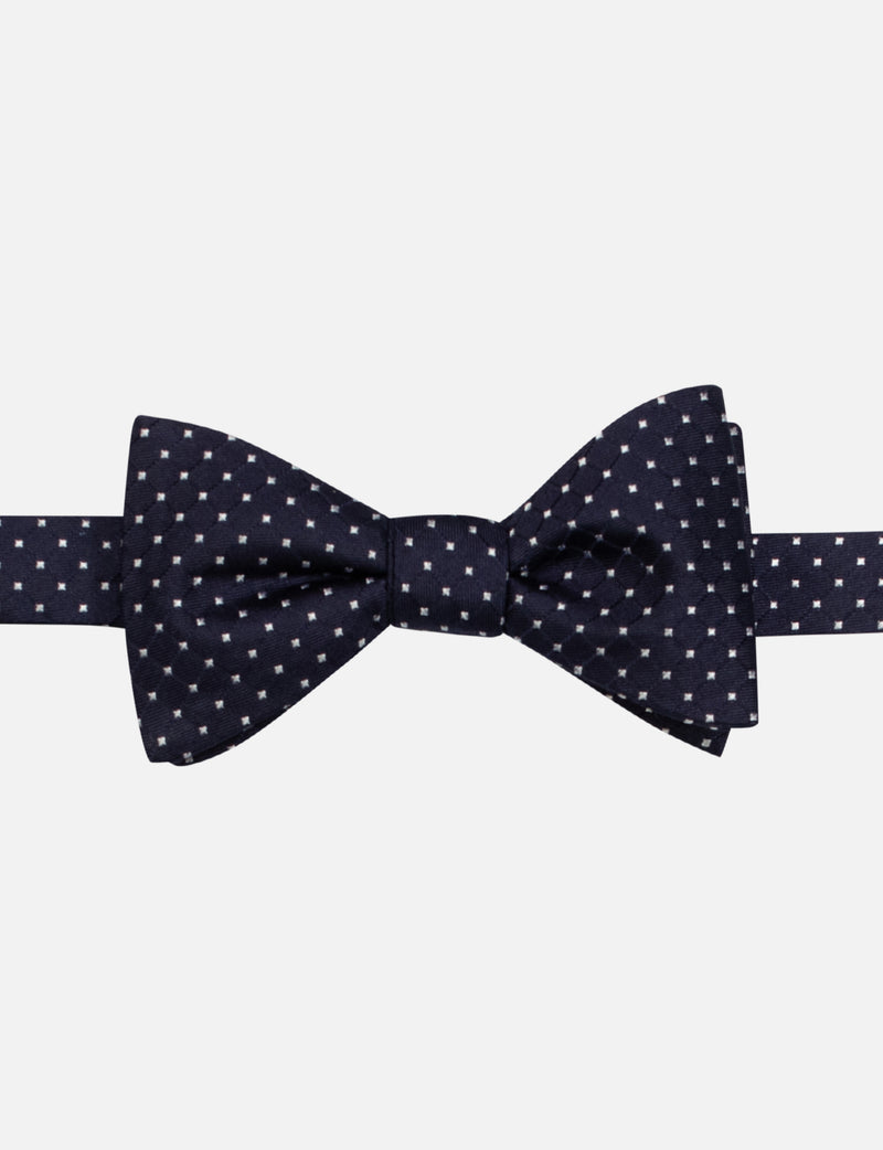 Pin Dot Bow and Floral Pocket Square Set