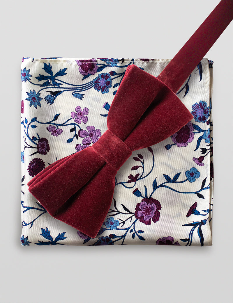 Velvet Bow Tie and Botanical Floral Pocket Square Set