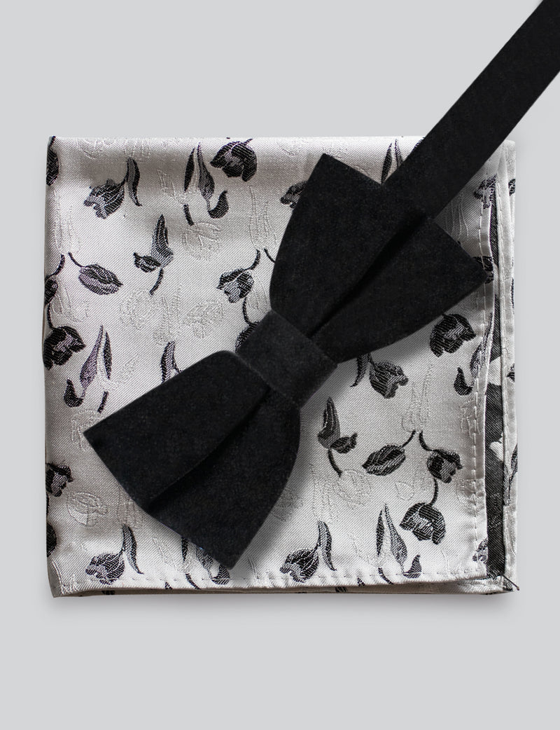 Velvet Bow Tie and Floral Pocket Square Set