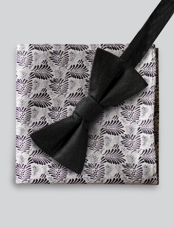 Twill Bow Tie and Leaf Pocket Square Set