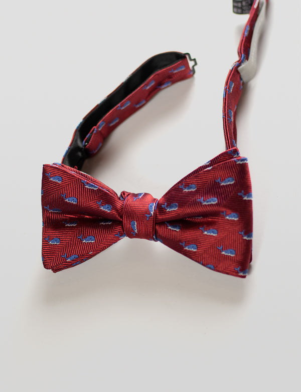 Whale Bow Tie and Bold Floral Pocket Square Set