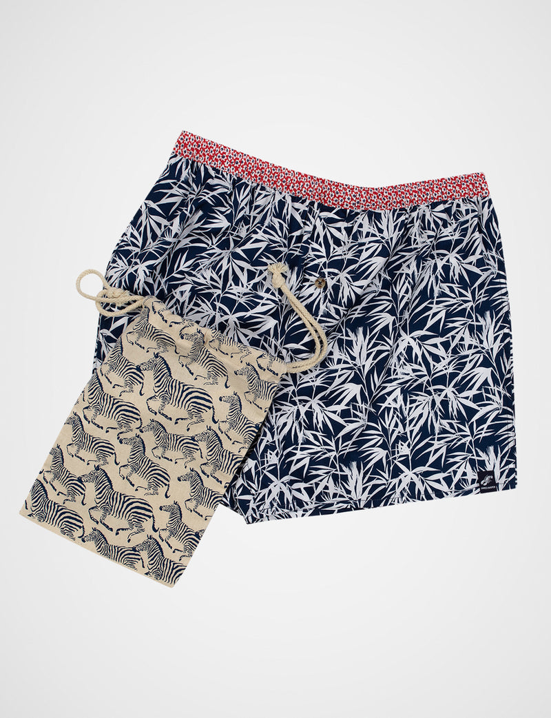 Bamboo Leaf Print Sleep Shorts