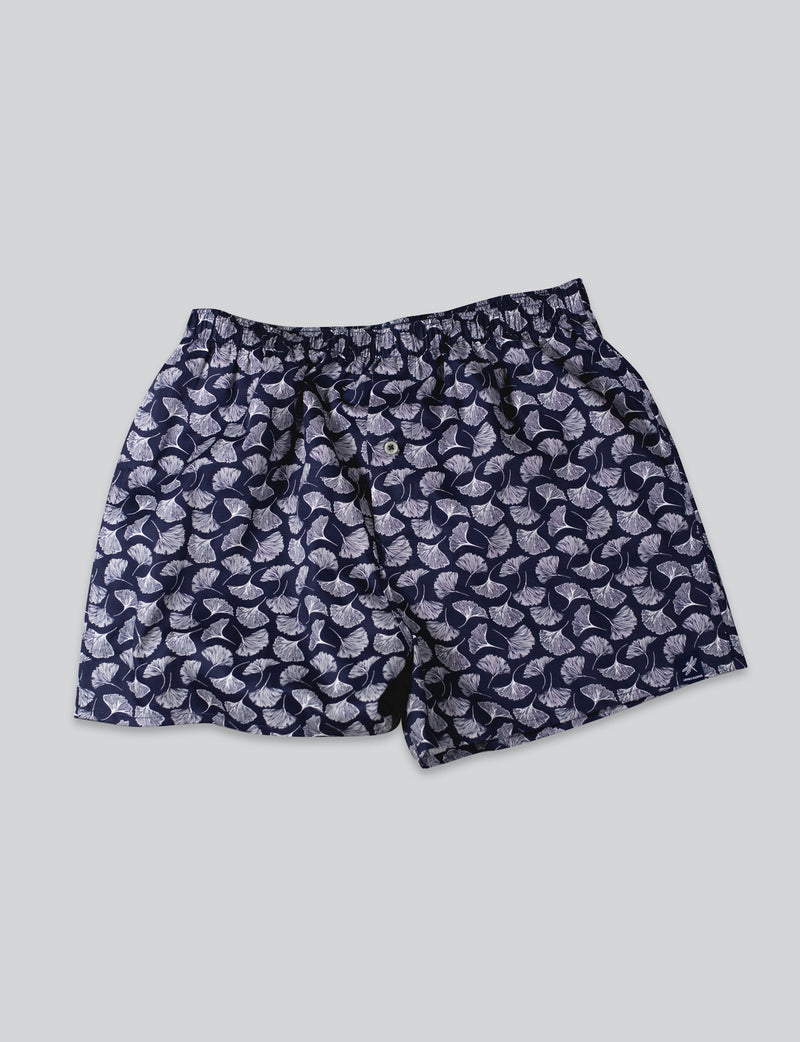 Feather Leaf Print Sleep Shorts