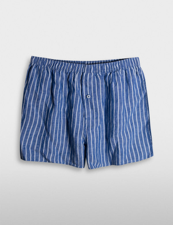 Wide Stripe Linen Sleep Shorts
