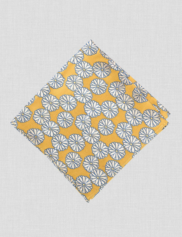 Golden Bloom Pocket Square