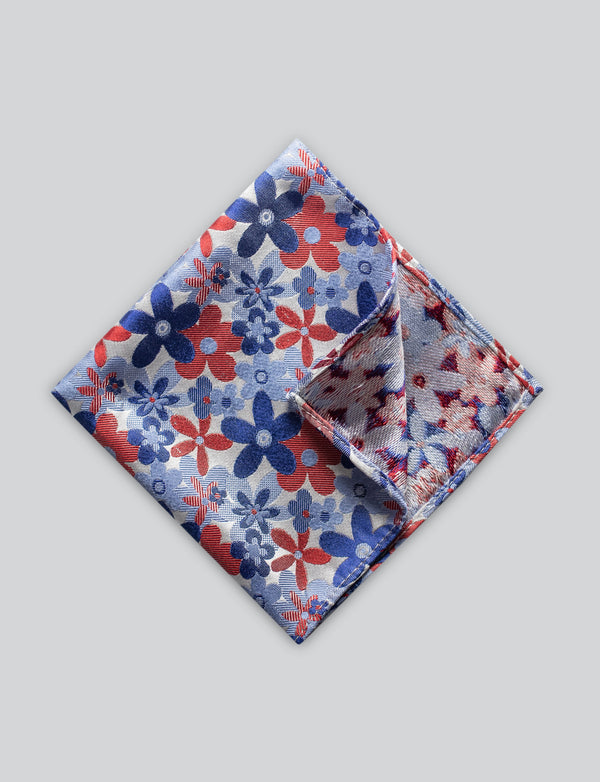 Bold Red and Blue Floral Pocket Square