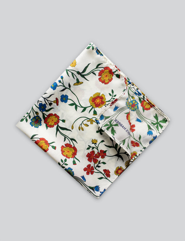 Botanical Floral Print Pocket Square