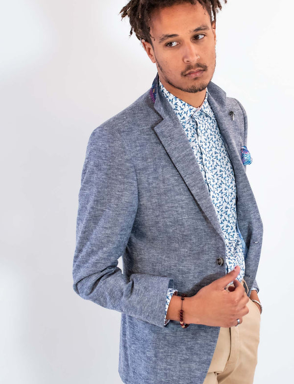 Navy Cotton Linen Blazer