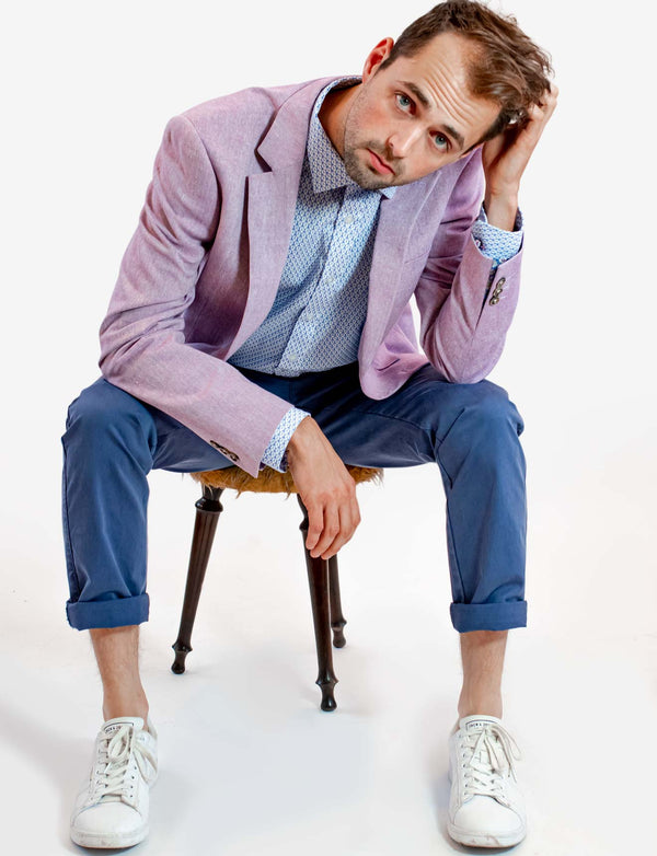 Lilac Cotton Linen Blazer