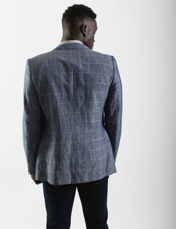 Blue Narrow Windowpane Check Blazer