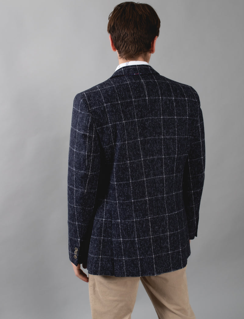 Navy Windowpane Check Blazer