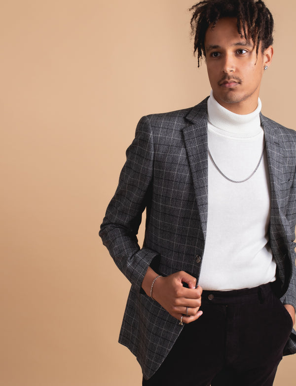 Charcoal Multi Coloured Check Blazer