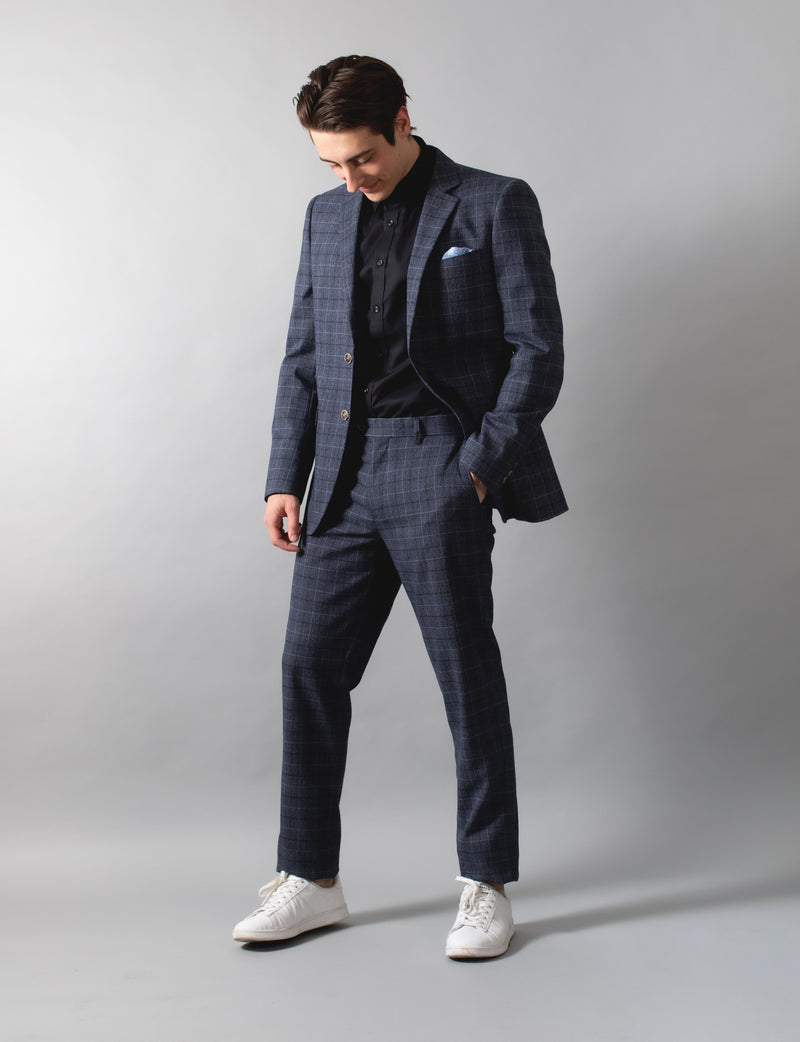 Blue Multi Coloured Check Blazer
