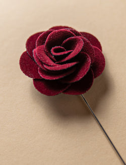 Burgundy Velvet Flower Lapel Pin