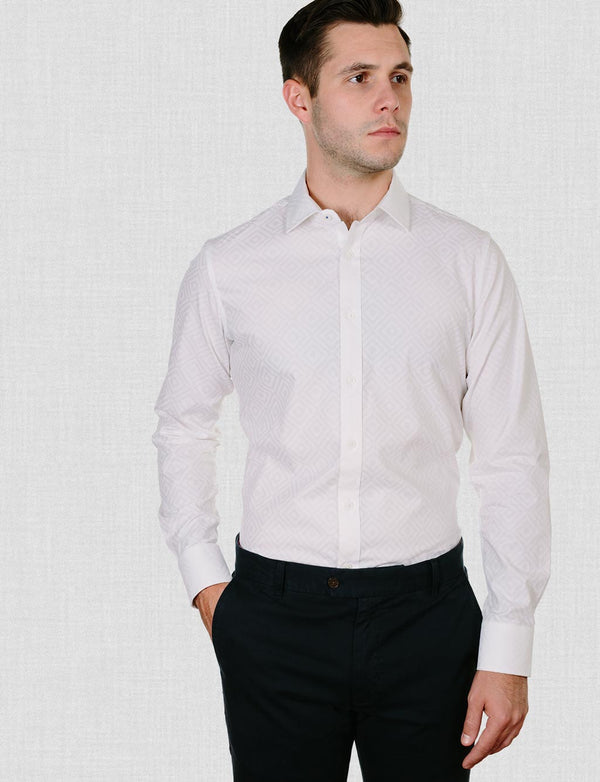 Eastham White Print Shirt