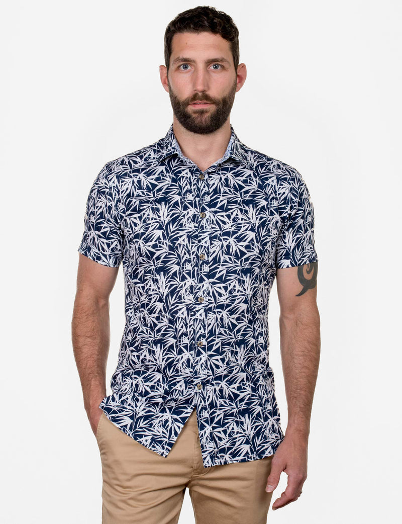 Austin Bamboo Leaf Print Shirt (Short Sleeve)