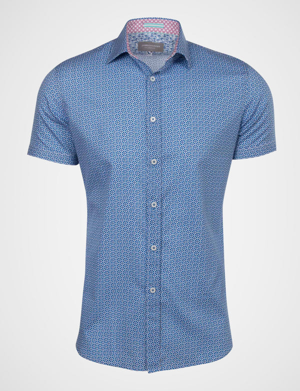 Sturrock Two Tone Diamond Print Shirt (Short Sleeve)