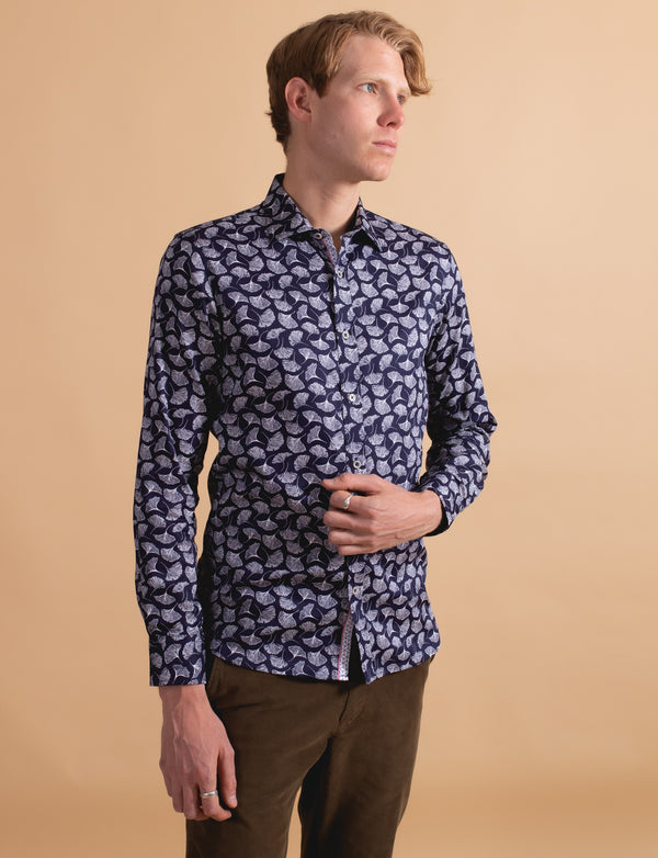 Feather Leaf Print Shirt