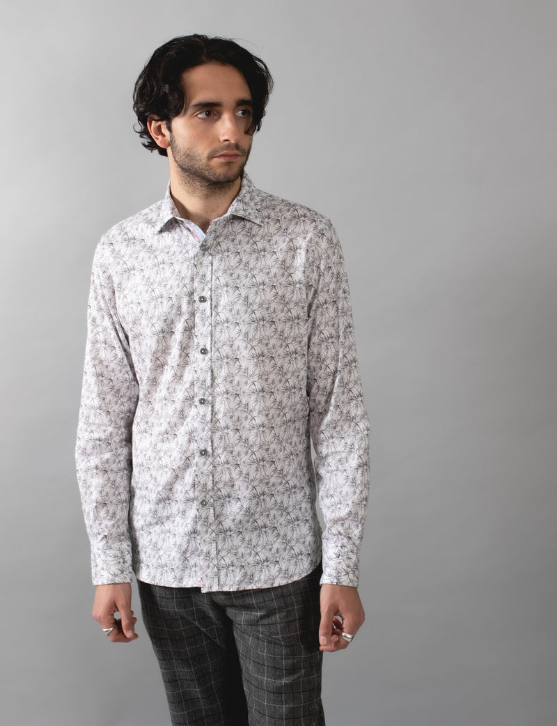 Textured Bamboo Print Shirt