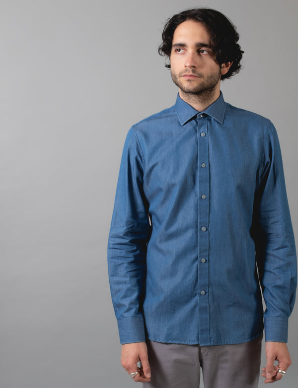 Blue Denim Print Shirt