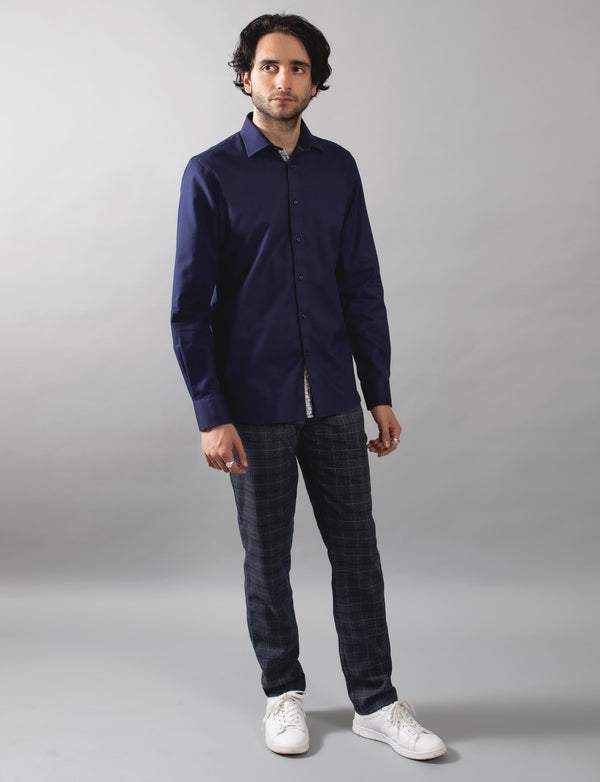 Navy Grid Textured Shirt
