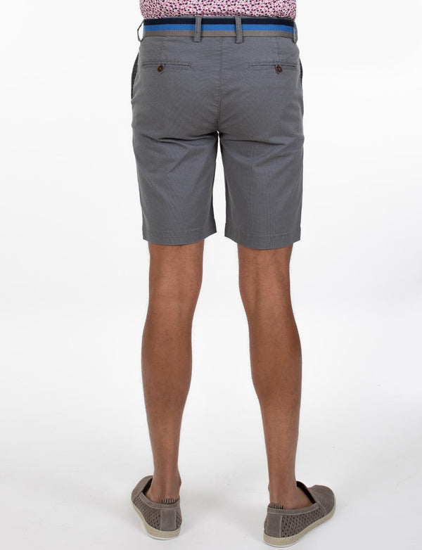 Grey Cross Print Chino Shorts