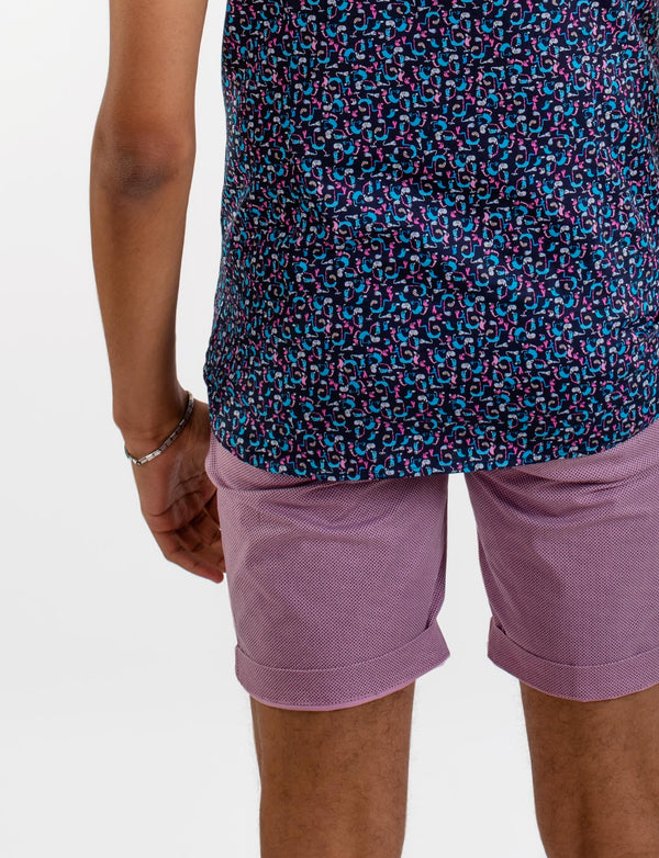 Pink Cross Print Chino Shorts
