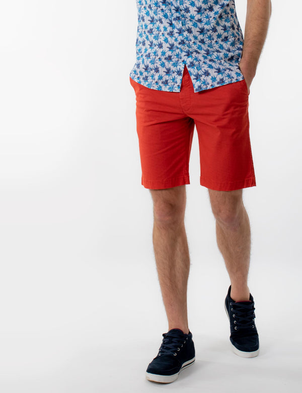 Red Cross Print Chino Shorts