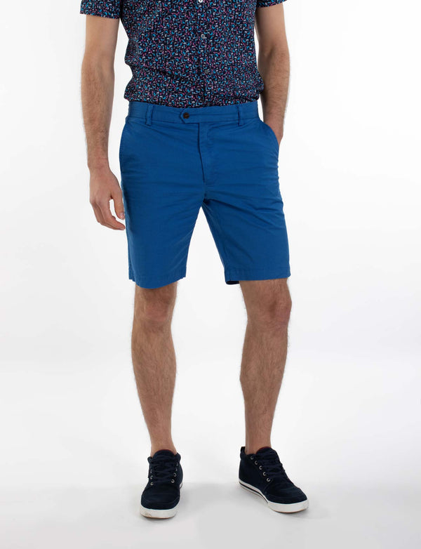 Royal Blue Cross Print Chino Shorts