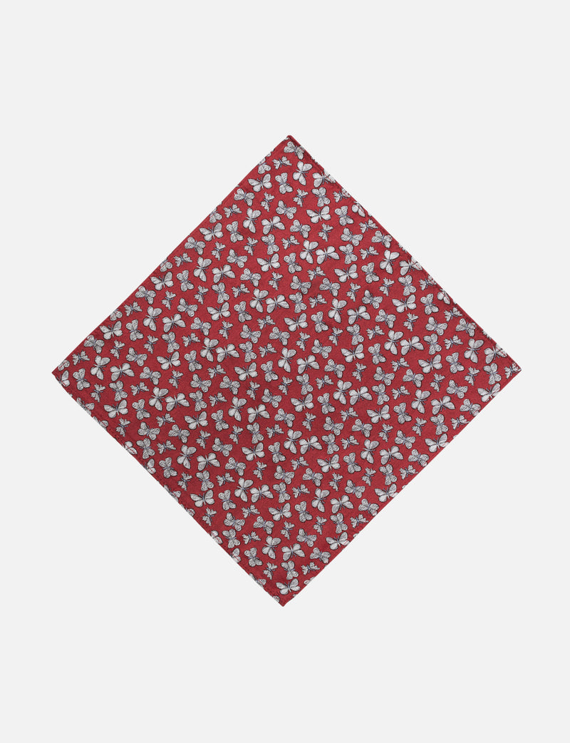 Red Butterfly Pocket Square