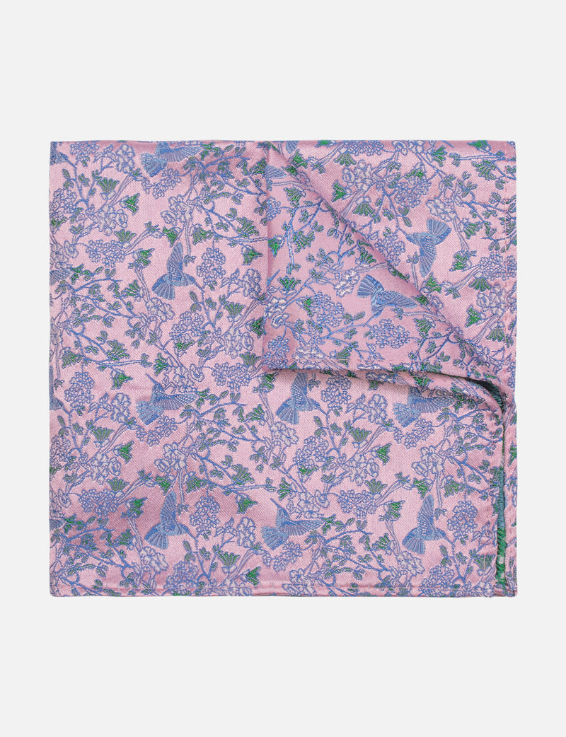 Floral Bird Pocket Square