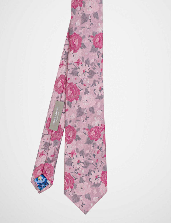 Pink Painted Floral Silk Tie