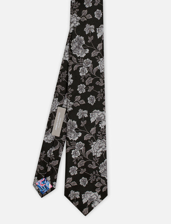 Detailed Floral Silk Tie