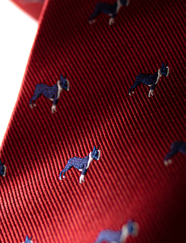 Red Frenchie Dog Silk Tie