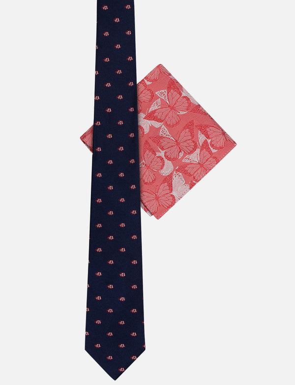 Fish Tie & Butterfly Pocket Square