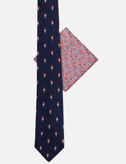 Ice cream Tie & Ditsy Floral Pocket Square Set