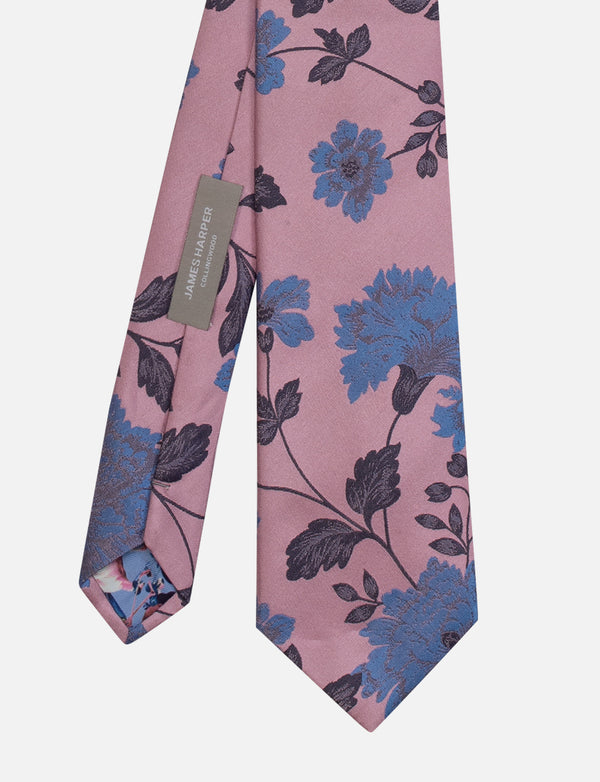 Floral Tie & Geometric Pocket Square Set