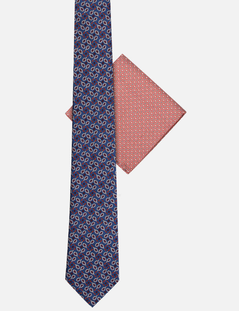 Tennis Tie & Geometric Pocket Square Set