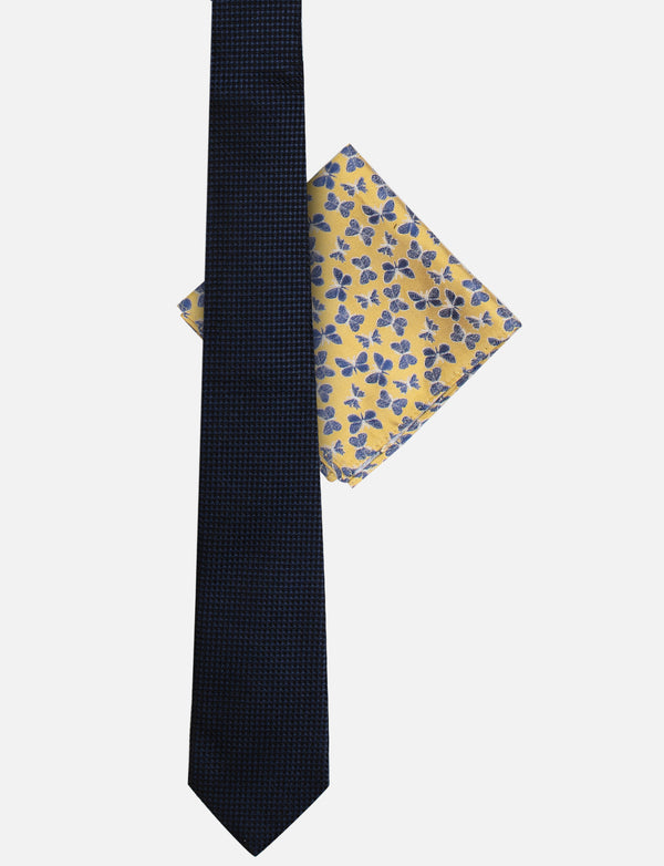 Textured Tie & Butterfly Pocket Square Set