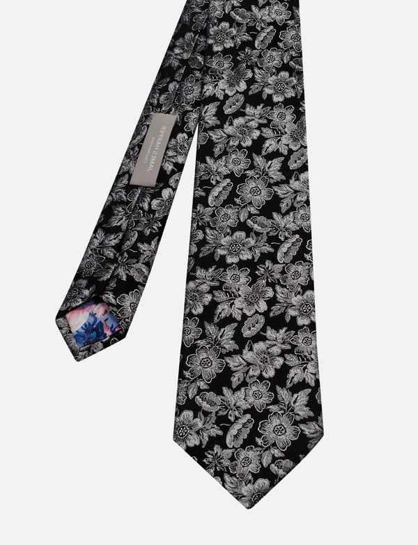 Detailed Floral Tie & Spot Floral Pocket Square Set