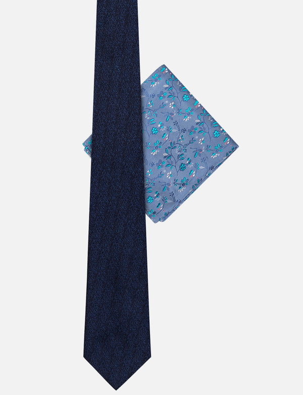 Textured Plain Tie & Leafy Floral Pocket Square Set
